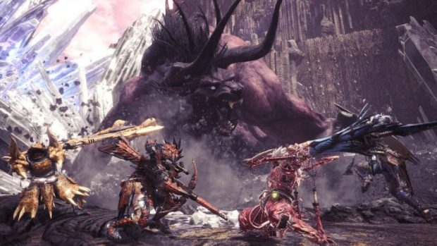 Monster Hunter: World screenshot of a battle against Behemoth