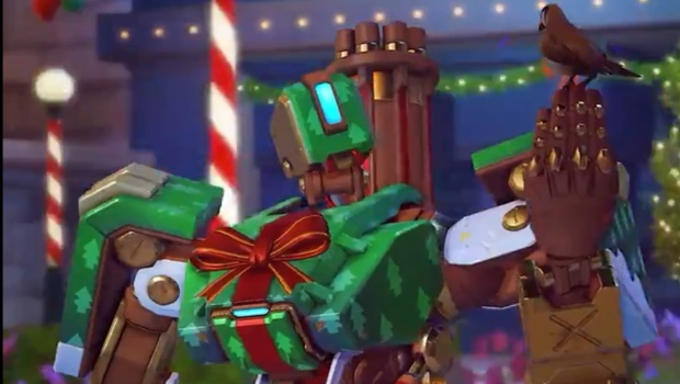 Overwatch Winter Wonderland screenshot of Gift Wrap Bastion