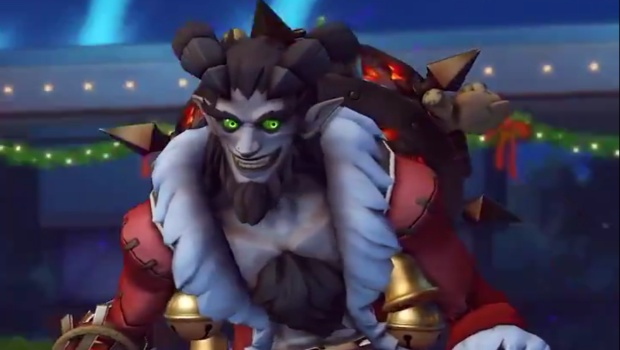 Overwatch Winter Wonderland screenshot of the Krampus Junkrat skin