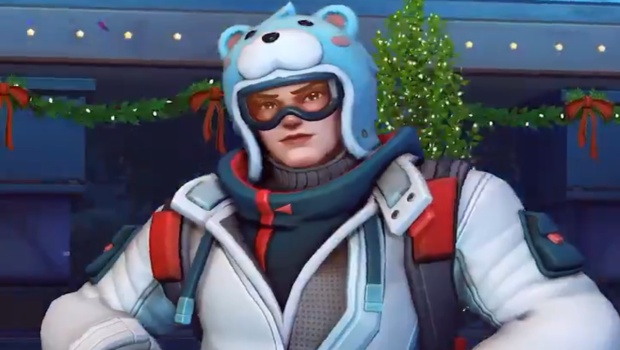 Overwatch Winter Wonderland screenshot of Snowboarder Zarya