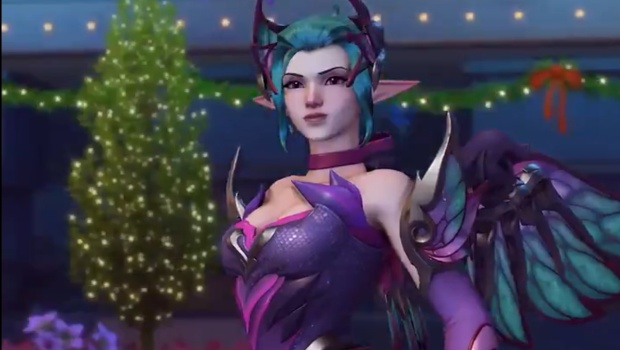 Overwatch Winter Wonderland 2018 screenshot of Sugar Plum Fairy Mercy