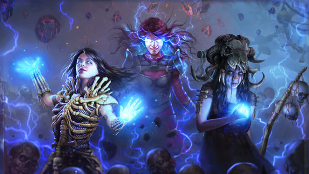 Path of Exile artwork showing the Witch Ascendancy classes