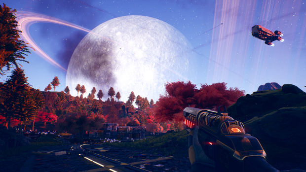 The Outer Worlds in-game screenshot of a giant moon