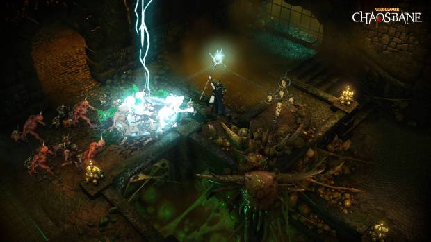 Warhammer: Chaosbane screenshot of a High Elf Mage using lightning spells
