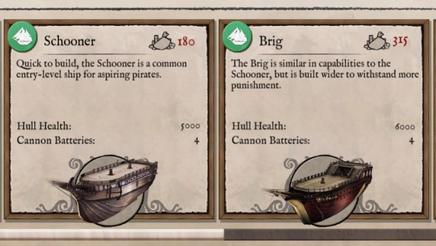 Abandon Ship screenshot of the two ships you can buy
