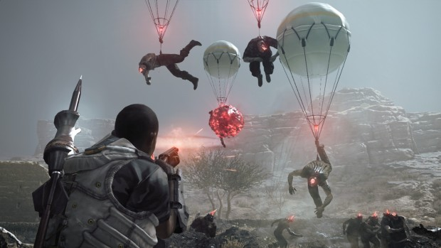 Metal Gear: Survive screenshot of zombies being lifted by balloons