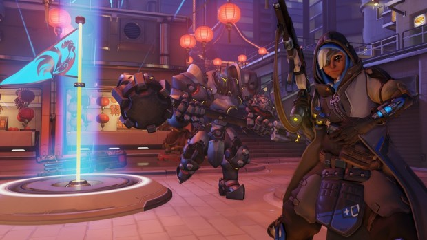 Overwatch screenshot of Reinhardt and Ana playing Capture the Flag