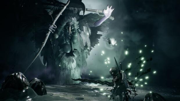Sinner: Sacrifice for Redemption screenshot of our hero fighting against a dark crow-like boss