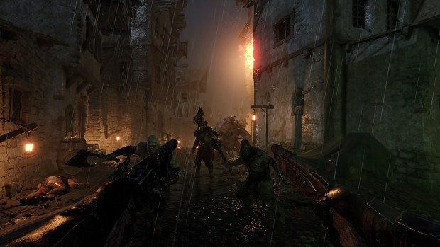 Warhammer: Vermintide 2 screenshot of the city at dusk