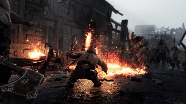 Warhammer: Vermintide 2 screenshot of Slayer Bardin fighting against Chaos