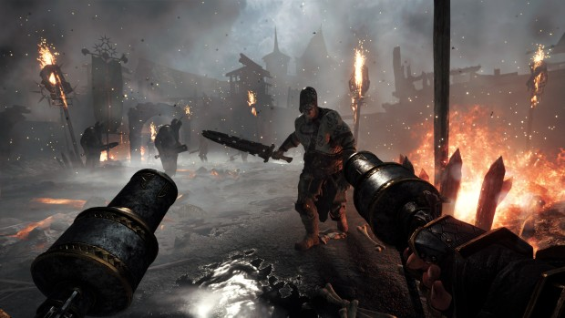 Warhammer: Vermintide 2 screenshot of the Witch Hunter fighting Chaos