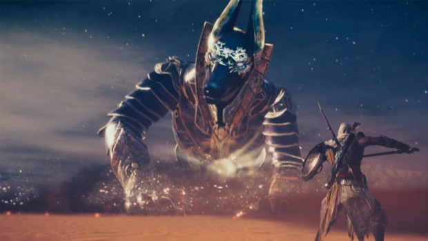 Assassin's Creed Origins: The Curse of the Pharaohs DLC screenshot of the Anubis boss fight