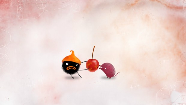 CHUCEL screenshot of two characters fighting over a cherry