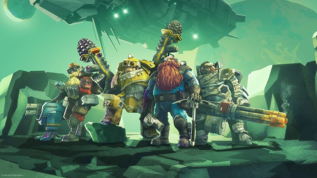 Deep Rock Galactic official artwork showing the four Dwarves