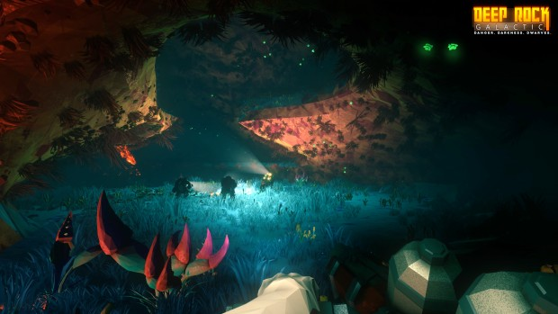 Deep Rock Galactic screenshot of an underground forest