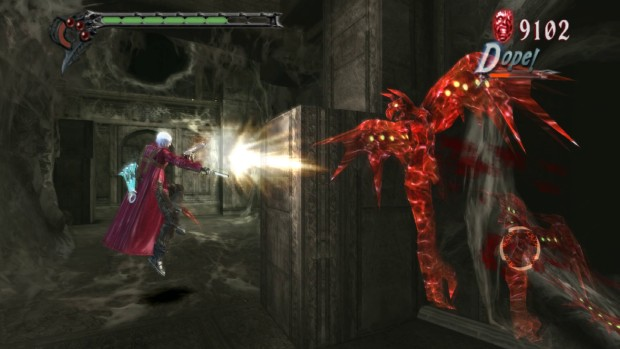 Devil May Cry HD Collection screenshot of Dante fighting a flying monster