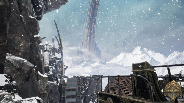 Firmament screenshot of a gigantic arch spanning the frozen wasteland