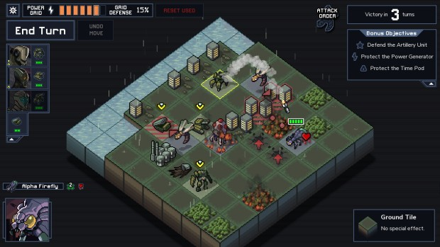 Into the Breach screenshot of a tank doing a bombardment attack