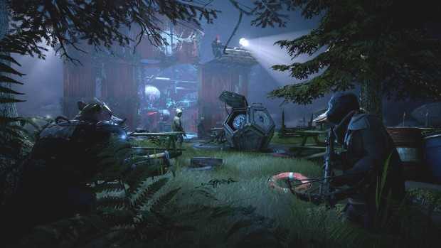 Mutant Year Zero screenshot of the characters hiding in the shadows