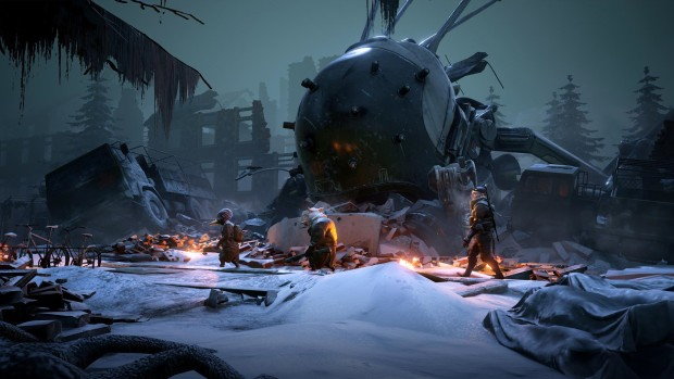 Mutant Year Zero screenshot of the characters walking through snow