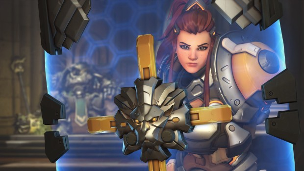 Overwatch screenshot of Brigitte holding her shield up