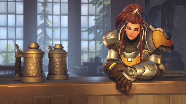 Overwatch screenshot of Brigitte and two beers