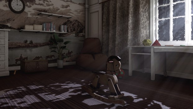 Rise of Insanity screenshot of a bedroom with a rocking horse