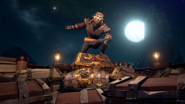 Sea of Thieves screenshot of a very suave pirate sitting on treasure chests