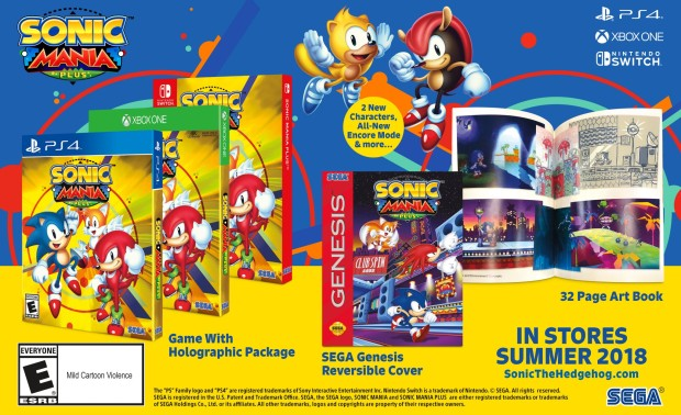 Sonic Mania Plus screenshot of the physical editions and the two new characters