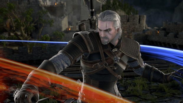 Geralt from Soul Calibur 6 fighting with his two swords