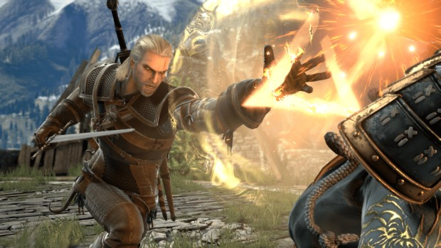 The Witcher 3's Geralt using the Igni sign in Soul Calibur 6