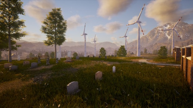 State of Decay 2 screenshot of the graveyard and windmills