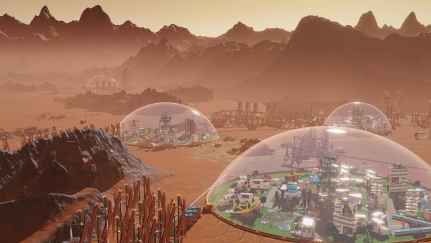 Surviving Mars screenshot of the domed habitats from up close