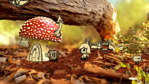 Tala adventure game screenshot of some mushrooms and our protagonist