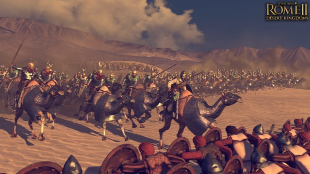 Total War: Rome 2 Desert Kingdoms DLC screenshot of a camel charge
