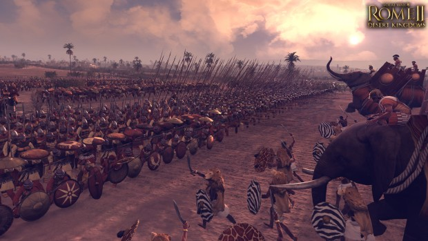 Total War: Rome 2 Desert Kingdoms DLC screenshot of a shield wall against elephants