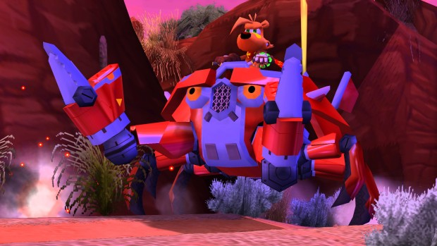 TY the Tasmanian Tiger 3 screenshot of our hero riding a giant crab mech