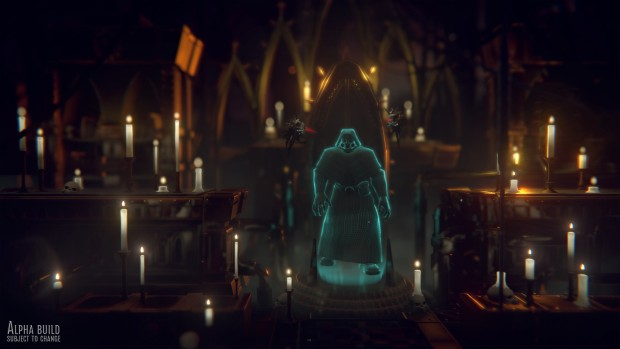 Warhammer 40k: Mechanicus screenshot of the Tech Priest hologram