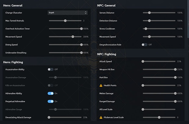 Assassin's Creed: Origins screenshot of the new Animus Control Panel parameters