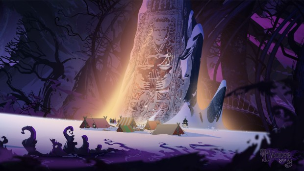 Banner Saga 3 screenshot of a camp set up beneath a giant monolith