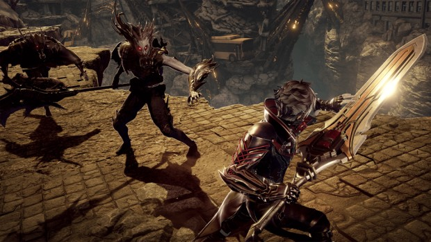 Code Vein screenshot of the Dark Souls like combat from up close