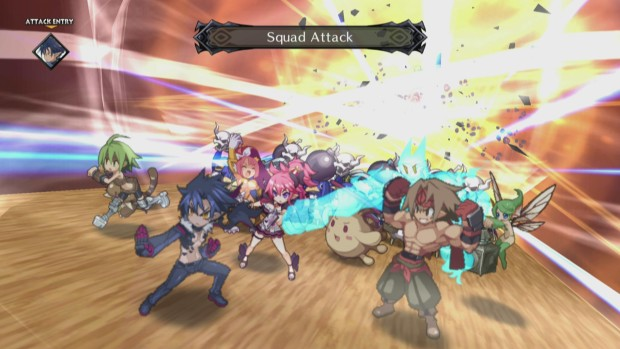 Disgaea 5 screenshot of the squad attacking together