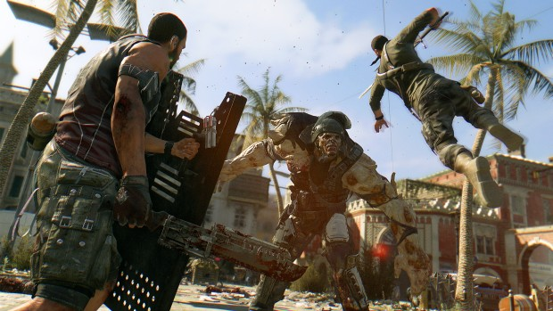Dying Light screenshot of two players fighting an armored demolisher