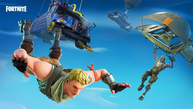 Fortnite official artwork showing numerous characters dropping into the zone