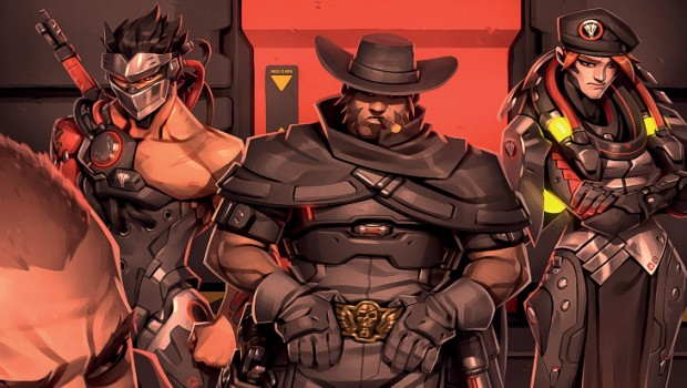 Overwatch artwork from the Retribution comic starring Genji, Moira, McCree and Reaper