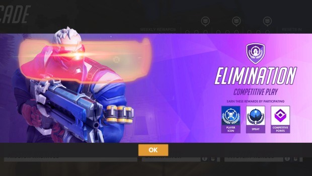 Overwatch screenshot of the 6v6 Elimination Competitive mode splash screen showing the rewards