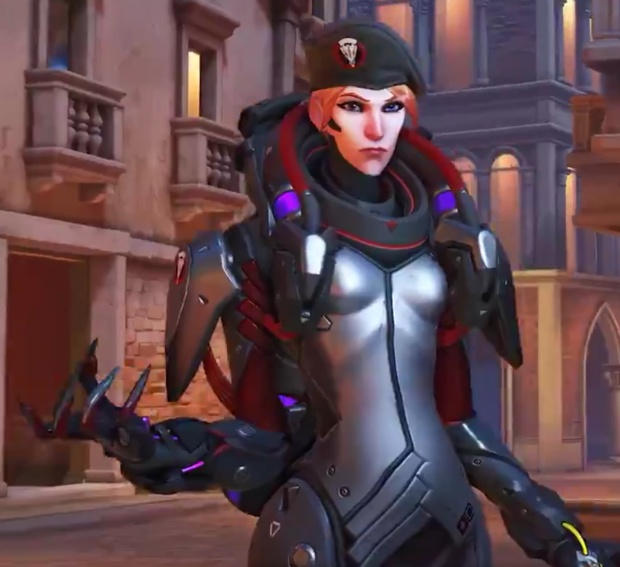 Overwatch Retribution screenshot showing the Blackwatch Moira skin