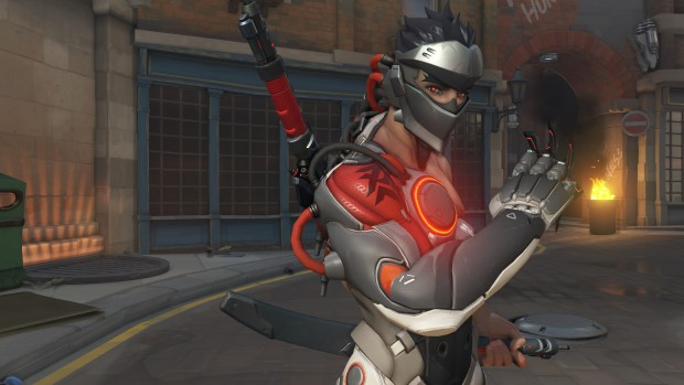 Overwatch screenshot of Genji's Blackwatch cosmetic