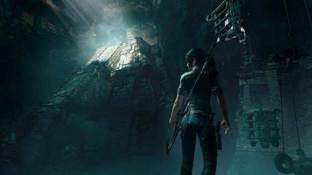 Shadow of the Tomb Raider screenshot of Lara exploring a tomb