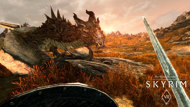 Skyrim VR screenshot of a dragon from the PC version